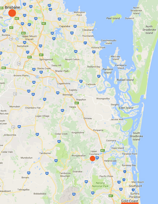 Upper Coomera near the Queensland, Australia, Gold Coast, is 36 miles southeast of Brisbane.