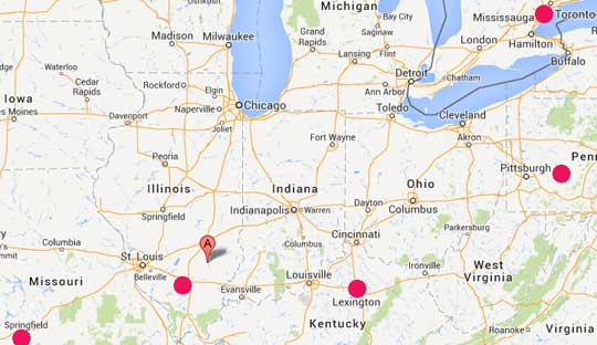 "Updated Map: Flora, Illinois (Google marker) is only a few miles northeast of Sesser, Illinois (red circle SE of St. Louis) where several loud booms were heard on December 21, 2013 (see report below). Then a week later on December 27, 2013, near Flora and Salem , Illinois, between 6 and 9 PM Central, there were also several loud booms like thunder, ""but radars from three different sites showed no storm or precipitation activity."""
