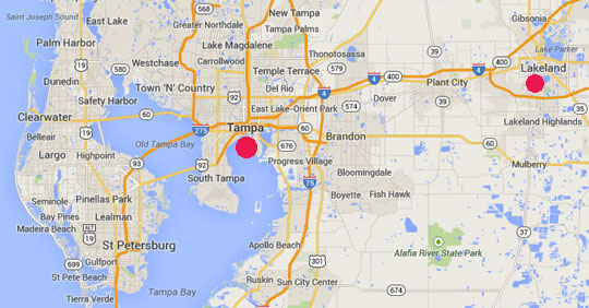 Lakeland, Florida, population about 100,000, is 35 miles east of Tampa.