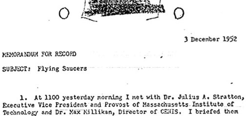 "One document in some 60 pages of a ""peek"" at the CIA's UFO ""X-files"" released on its CIA News & Information blog on January 21, 2016."