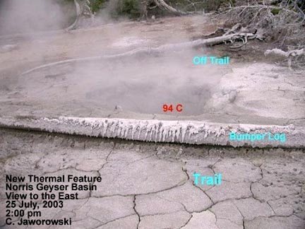 July 25, 2003, new thermal feature at Norris Geyser Basin © 2003 by C. Jaworowski.